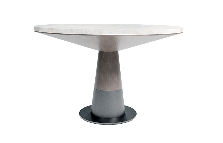 Silo Pedestal Dining Table by LUMA Design Workshop. Custom furniture hand built in Seattle, WA. Featured in luxury furniture showrooms.