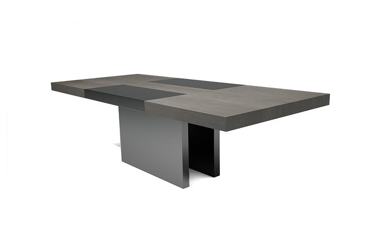 LUMA's Flip Dining Table shown in Stone Walnut. Custom built, luxury furniture available in furniture showrooms across the US and Canada.