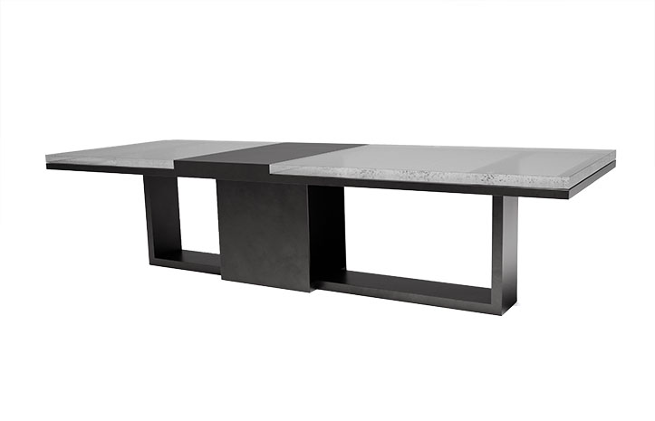Cast Glass Strap Dining Table by LUMA Design Workshop shown in Ultra Clear Cast Glass. Custom furniture handmade in Seattle, WA.