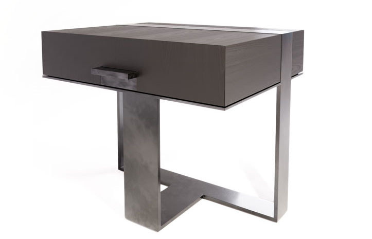 LUMA's Strap Nightstand. Custom, luxury furniture made with locally sourced materials available in furniture showrooms across the US and Canada.